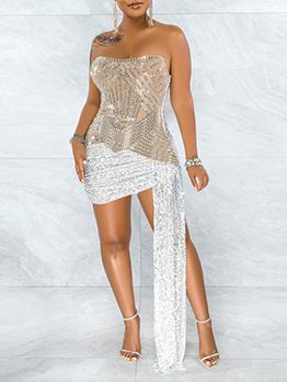 Sexy Irregular Hot Drilling Strapless Dress