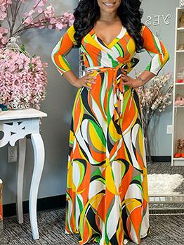 Summer Colorful Print Long Sleeve Maxi Dress