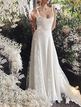 Summer Backless Sleeveless Patchwork Maxi Wedding Evening Dress