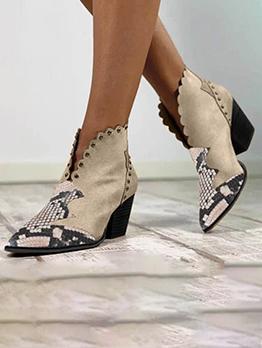 Snake Print Rivet Trendy Vintage Chunky Ankle Boots