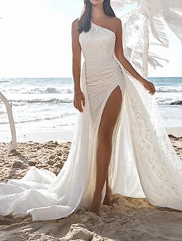 Designer White Backless Sequined Slit Maxi Evening Dress