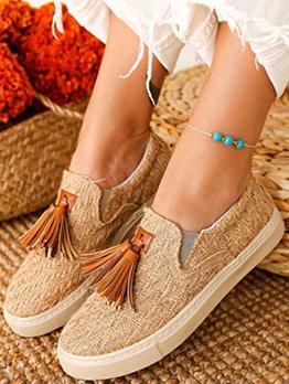 Simple Fashion Retro Tassel Decoration Slip On Shoes