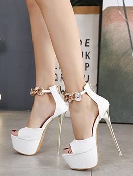 Peep Toe Sexy Nightclub Solid Platform Heel Sandals
