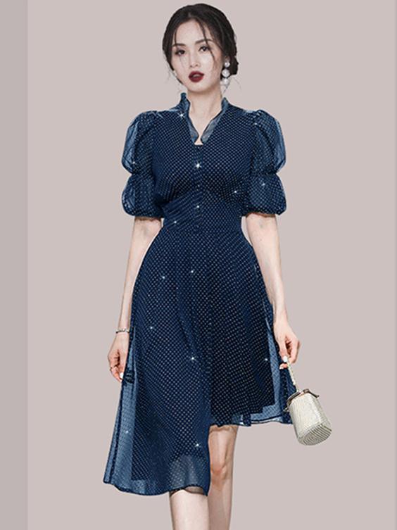Vintage V Neck Patchwork Loose Short Sleeve Dress