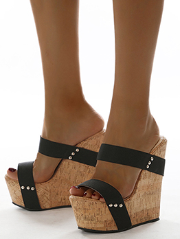 Simple Patchwork Wedge Slippers Vintage Roman Style