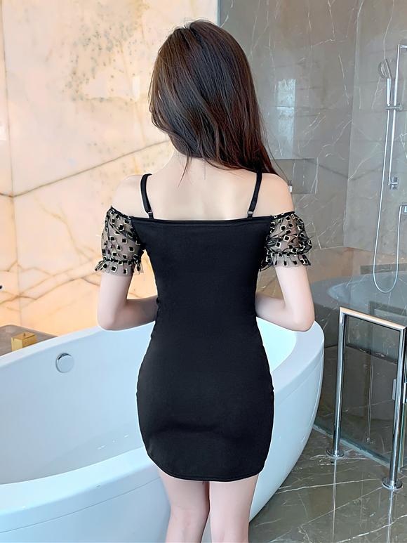Sexy Spaghetti Strap Patchwork Bodycon Short Sleeve Dress