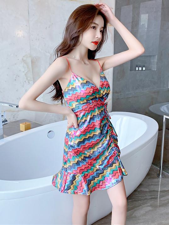 Vacation V Neck Spaghetti Strap Sleeveless Mini Dress