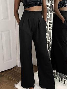 Solid High Waist Casual Wide Legged Pants Women