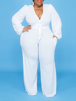 Solid V Neck Plus Size Two Piece Outfits