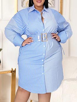 Fashion Striped Plus Size Long Sleeve Shirt Dress