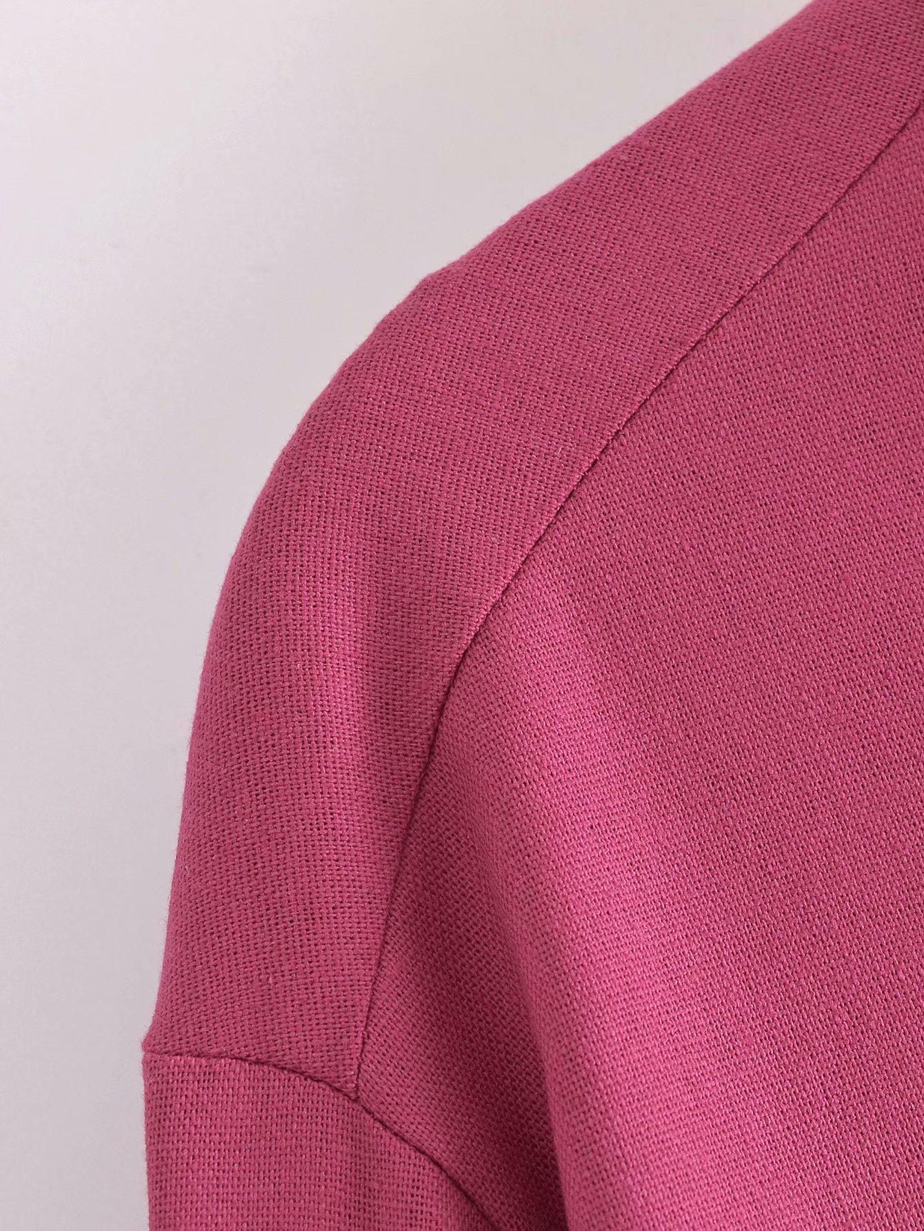 Turndown Collar Solid Women Long Sleeve Blouse