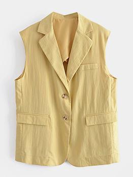 Casual Latest Style Yellow Sleeveless Blazer Coat