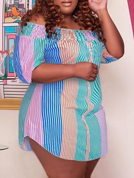 Irregular Contrast Color Off Shoulder Plus Size Dress