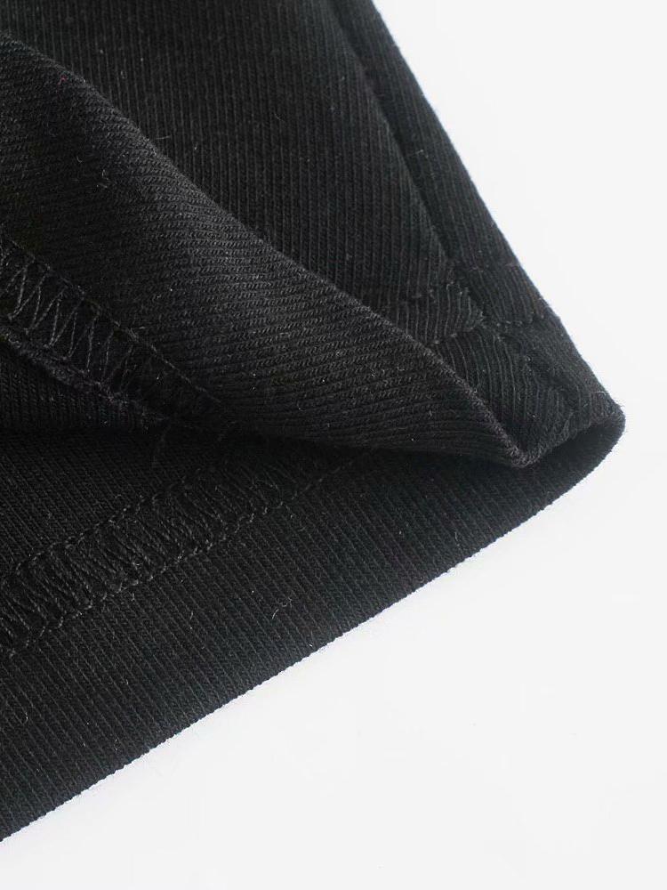 Autumn Simple Black Versatile Ruched Long Sleeve Blouse
