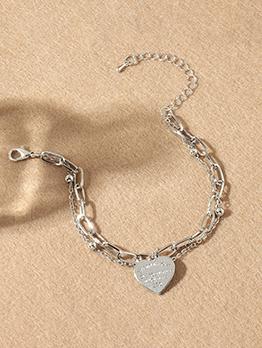 Simple Design Letter Heart Chain Bracelet For Women
