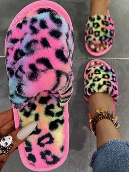 Contrast Color Leopard House Shoes Women