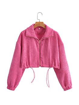 Sweet Plain Pink Corduroy Long Sleeve Short Coat