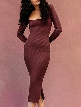 Autumn Latest Style Plaid Solid Long Sleeve Skinny Dress