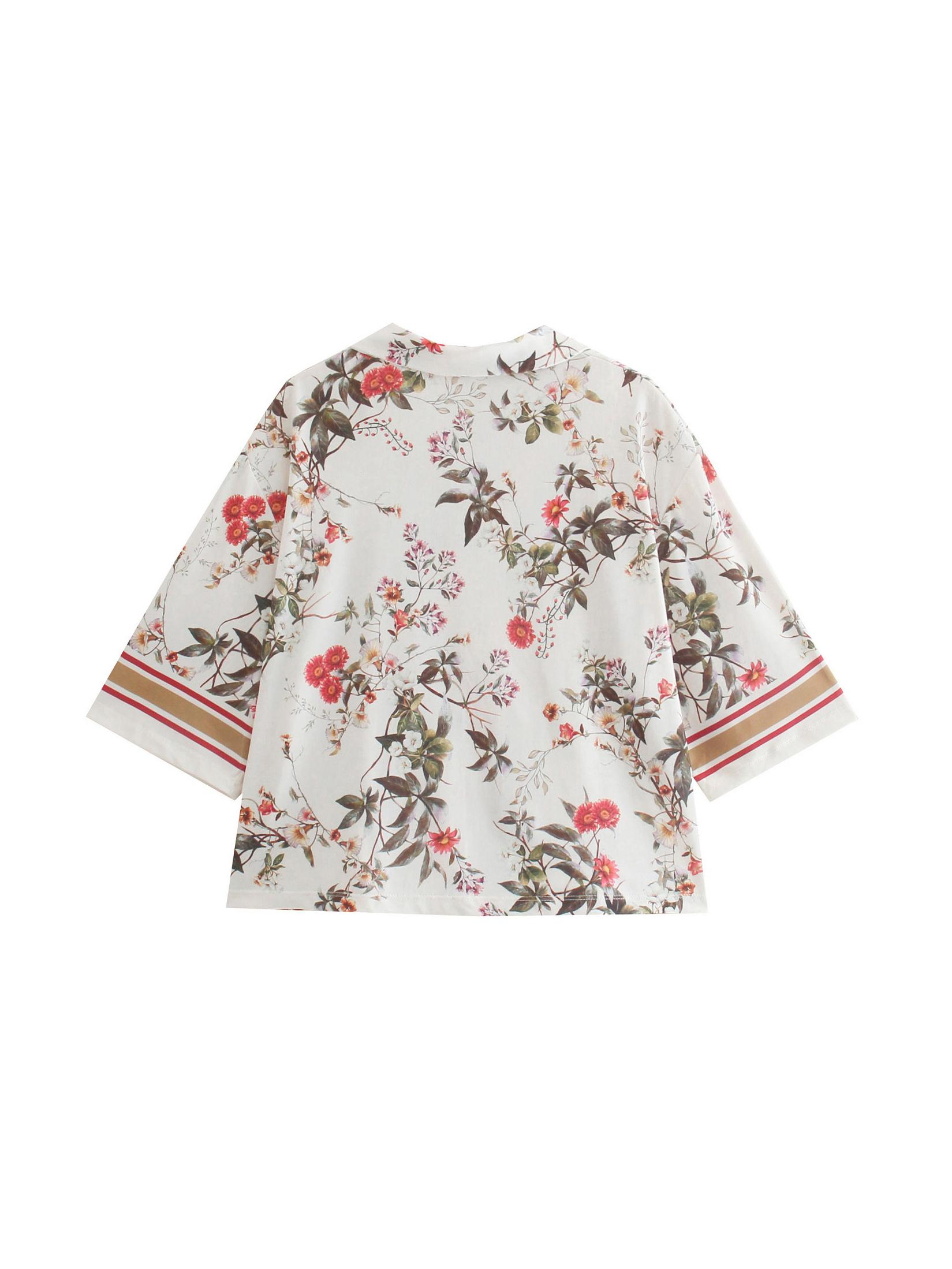 Youthful Flower Print Short Sleeve Blouse For Women