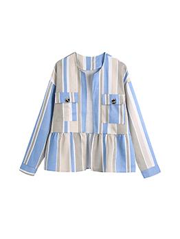 Trendy Striped Chest Pocket Long Sleeve Blue Coat