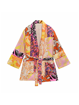 Printing Pocket Long Sleeve Lace Up Short Coat