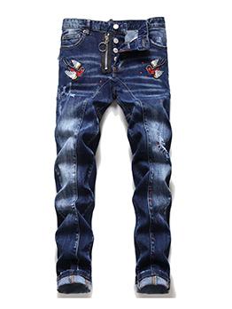 Embroidered Design Skinny Denim Jeans Retro