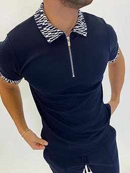 Patchwork Print Turndown Collar Polo Shirts Men