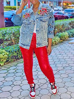 Cool Printed Patchwork Denim Jacket For Women