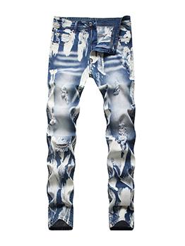 Plus Size Fashion Skinny Hollow Out Men Denim Jeans