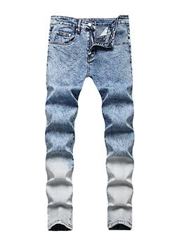 Trendy Men Hip Hop Distressed Gradient Color Jeans