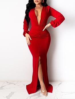 Deep V Neck Solid Skinny Evening Maxi Dresses