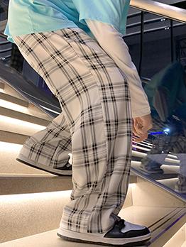 Casual Versatile Plaid Korean Style Lovers Long Pants