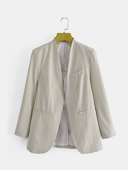 Cool Solid Fashion Loose Pocket Blazer