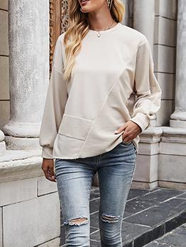 Solid Casual Autumn Simple Long Sleeve Sweatshirt Women