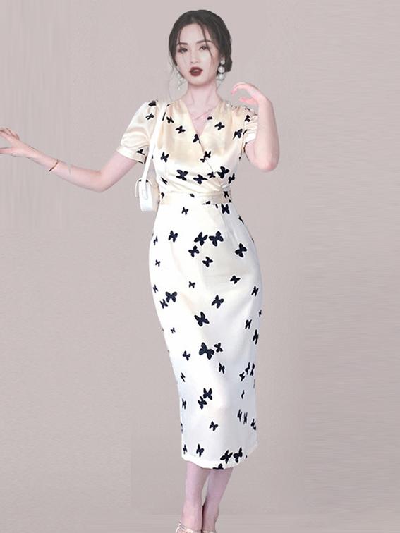 Elegant Butterfly Printed V Neck Short Sleeve Dress