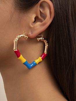 Vintage Contrast Color Heart Hoop Earrings For Women