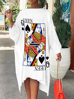 Casual Loose Poker Printed Long Sleeve Maxi Dress