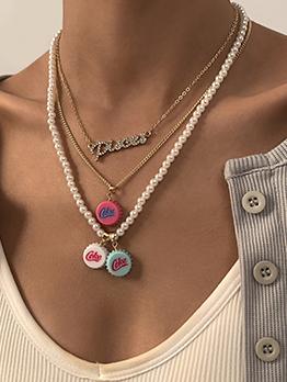 Bottle Cap Pendant Faux Pearl Rhinestone Necklace Sets