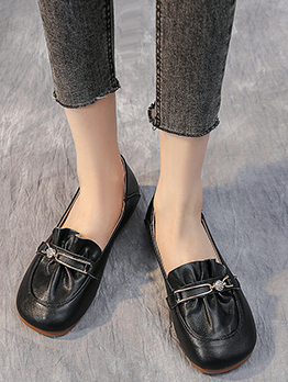 Casual Round Toe Flat Comfy Slip On Shoes Women