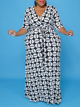 Sexy V Neck Plus Size Maxi Dress