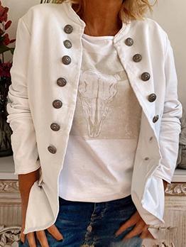 New Stand Collar Long Sleeve Women Coat