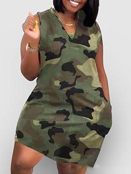 Loose V Neck Camouflage Plus Size Dress