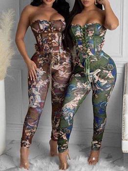 Alluring Tie-Wrap Print Strapless Jumpsuit