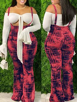 Fresh Print Wide Leg Overalls For Women