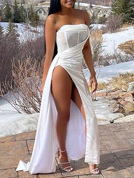 Sexy Backless Gauze Strapless Evening Maxi Dresses