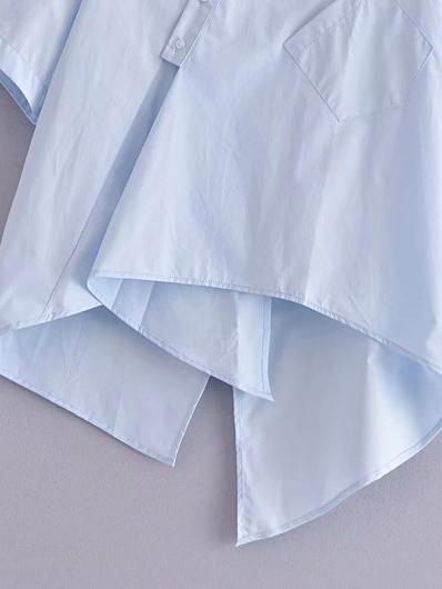 Summer Solid Patchwork Slit Blouse For Women
