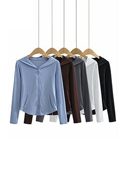 Sporty Zipper Up Pure Color Hooded Sweatshirt