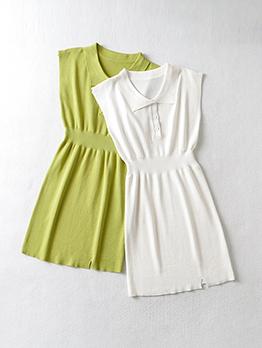 Summer Solid Button Up Sleeveless Dress For Women