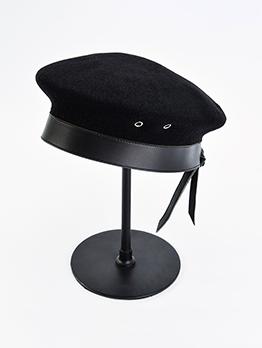 Cool Plain Black Drawstring Trendy Beret