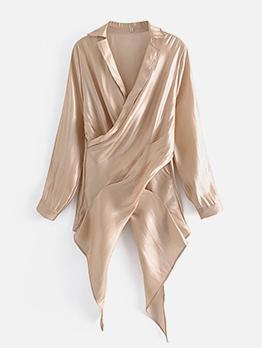 Fashion Solid Irregular Long Blouse Women